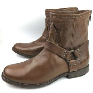 Frye Shoes - Frye Phillip Harness Cognac Ankle Boots
